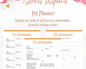 Pet Planner Printable Planner Dog Planner Cat Planner