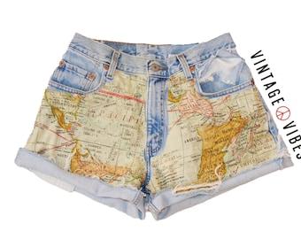 Vintage High Waisted Shorts World Map Print