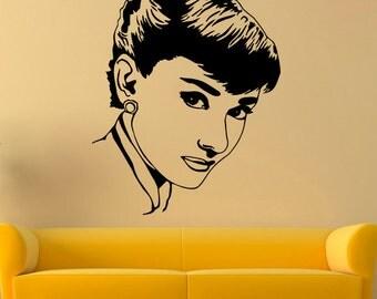 Audrey Hepburn Vinyl Sticker Actress Wall Decal Celebrity Decals Wall Vinyl Decor /3csa/