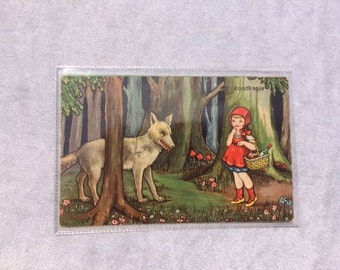 Vintage Red Riding Hood Postcard Vintage Fairytale Postcard Antique Fairytale Red Riding Hood Postcard Collectible Postcard
