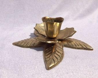 Brass Flower Candle Holder Vintage Candle Stick Flower Petals Candle Holder Vintage Brass Candle Holder