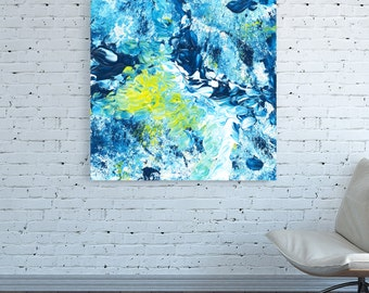 Square Canvas print Square abstract Square white light blue yellow Square painting turquoise wall art work Minimal Abstract Blue Artwork art