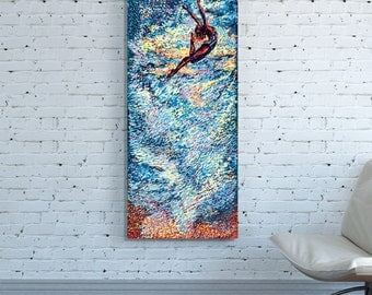CANVAS PRINT Vertical Huge Large Blue Abstract Wall Art Impressionism Painting Oversized Sky Flying Woman Blue Abstract colorful wall art