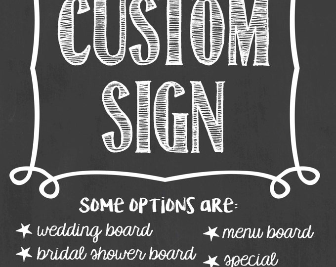 Custom Chalkboard Sign/Custom Chalkboard/Personalized Sign/Custom Shower Sign/Custom Party Sign/Custom Birthday Sign/Custom Sign/Digital