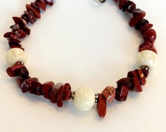 Red Jasper and Bone Bracelet
