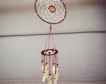 Tribal dreamcatcher wind chime with 7 Citrine stones
