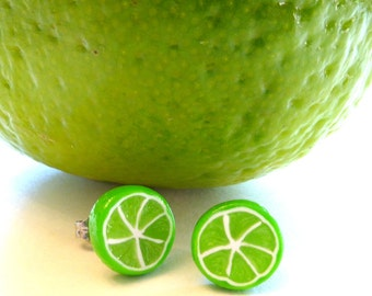 Lime Slice Earrings, Summer Outdoors, Fruit Stud Earrings, Miniature Food Jewelry, Fruit Jewelry, Green Stud Earrings, Polymer Clay Earrings