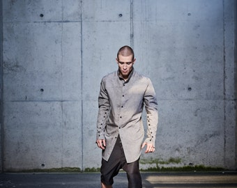 Mens Drop Crotch Shorts / Brown Wool Pants / Modern Brown Trousers / Brown Extravagant Shorts  / Handmade Mens Clothing by POWHA
