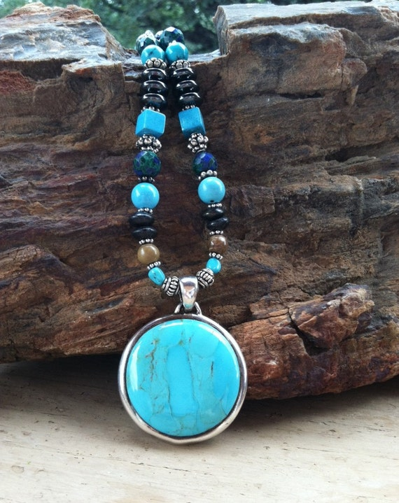 SHAMAN'S POWER, Barse Turquoise and Silver pendant, Protection, Sedona and Reiki charged, Metaphysical, Wiccan, Turquoise, Third Eye Chakra