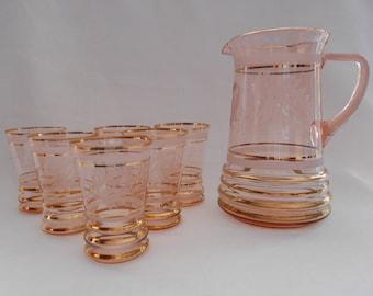 Vintage Pink Water Set Glass Lemonade Jug / Pitcher Six Glasses Etched Thistle Design 1950's