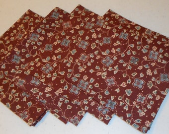Burgundy/Blue Handmade Cotton Napkins (4)