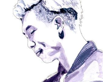 BTS Watercolour Portrait Print: Rap Monster (Kim Namjoon)