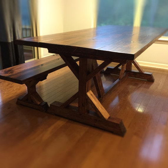 Mission Style Farmhouse Trestle Dining Table by FlippingFuquay