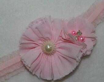 Shabby Chic Baby Headband, Pink stretch headband, New Baby Girl Headband, Pink Baby girl headband,Cottage chic Pink headband, Hair accessory
