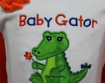 Baby Gator girl outfit, Gator Girl outfit,UF baby clothes,University of Florida girls outfit, UF girl ruffled shorts, UF gator headband