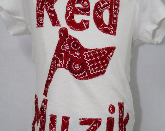 Red Flag Muzik, Red Bandana Shirt, Girls red bandana shirt, Toddler Girls Red Flag Muzik shirt