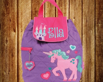 Personalized Stephen Joseph Quilted Backpack- Unicorn
