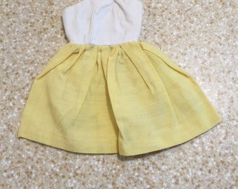 1980s Vintage Barbie Spring Dress - Hand-Made - White Top Yellow Bottom - Cute