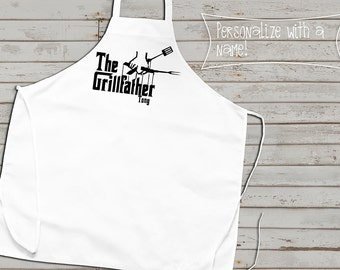 BBQ Apron, Grill Father, Customized Barbecue Apron, Fathers day gift, Gifts for Him, Cute Apron, grilling apron, great grilling dad gift