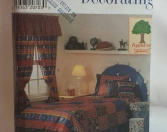 Bedding Accessories Sewing Pattern Twin Size Duvet Cover and Dust Ruffle Curtains Pillows Tissue Cover Simplicity 7772