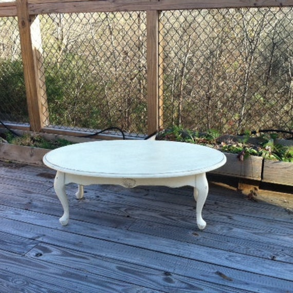 Coffee Table Cream Ivory White Distressed By