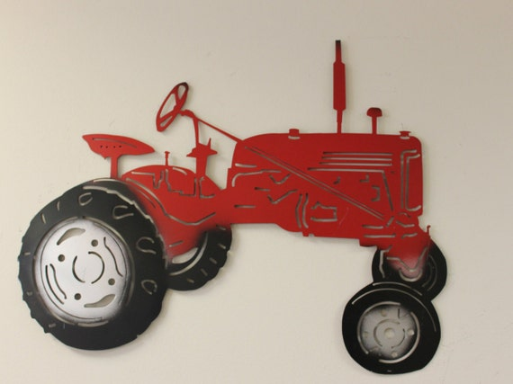 Metal Art Tractor : Metal cutout of red tractor wall art country home decor