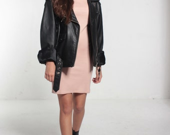 Faux Leather Classic Biker Virginia Slims Wear Jacket