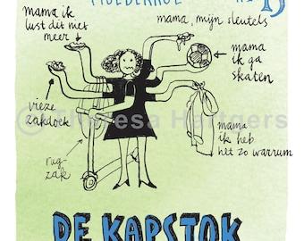 printable download gekleurde pentekening coloured pen drawing mama wc-papier kapstok