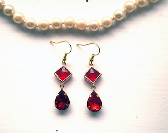 Crimson Earrings red drop earrings christmas earrnigs womens gift ruby earrings deep red earrings ruby earings rubin earrings gift for women