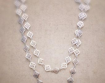 Long necklace, silver necklace, long silver necklace, long and layered, layered necklace, long and layered necklace, silver jewelry, gift