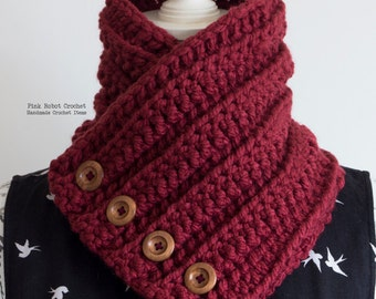 Buttoned Cowl - Chunky Neck Warmer - Chunky Crochet Cowl - Red Cowl - Crochet Cowl - Crochet Neck Warmer - Fall/Winter Fashion