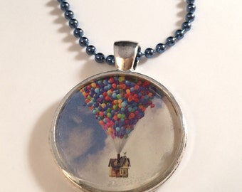 UP - UPCYCLED Magazine and Resin Pendant Necklace or Keychain