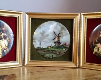 Three Very Nice Vintage Framed Ceramic Pictures By Harleigh China Co - The Night Watch, Self Portrait by Rembrandt, The Mill By Van Ruysdale