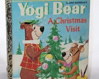 """Yogi Bear A Christmas Wish Little Golden Book -- 1961 """"B"""" Edition -- Hanna Barbera, Cartoon -- Children, Reading, Little Golden, US"""