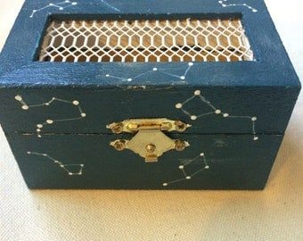 hand painted wooden constellation box