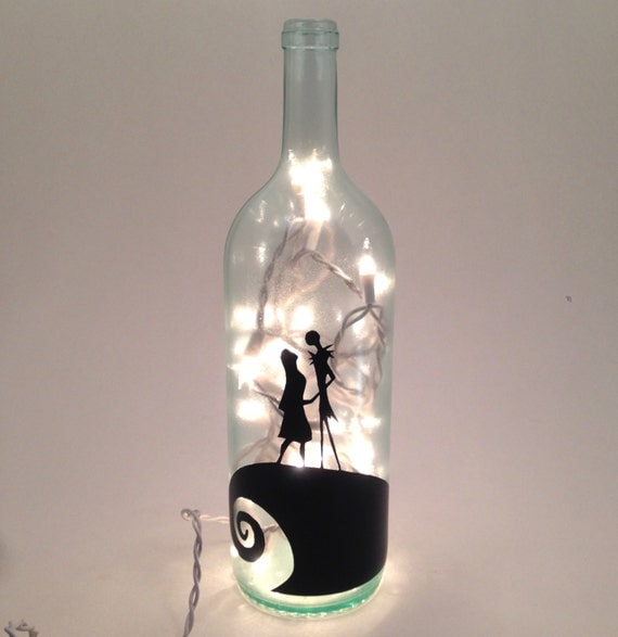 Nightmare before christmas inspired wine bottle by for Can acrylic paint be used on glass bottles