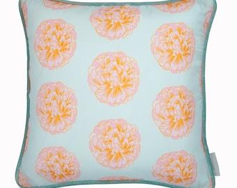 Peony Silk and Velvet Cushion