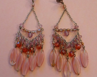 Vintage Glass Chandelier Earrings, Drop Dangle Earrings, Pink Glass