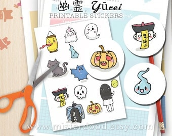 Yūrei (幽霊) Printable Sticker, Japanese Ghost Yuurei, Kawaii Chinese Asian Amulet Zombie Monster Bat, Planner Diary Journal, Instant Download