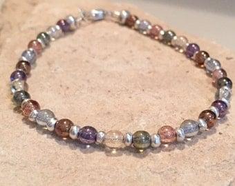 Multicolored bracelet, glass luster bead bracelet, Hill Tribe silver bracelet, boho style bracelet, dainty bracelet, gift for her