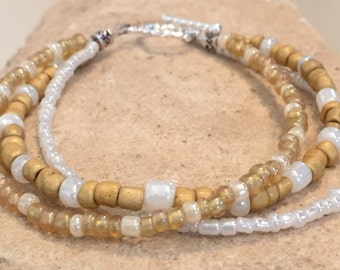 White, gold and tan triple strand seed bead bracelet, gold bracelet, seed bead bracelet, boho bracelet, minimalist bracelet, gift for her