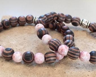 Striped amber wood bead mother/daugher bracelets, father/daughter bracelets, father/son bracelets, family bracelet, gift for mom