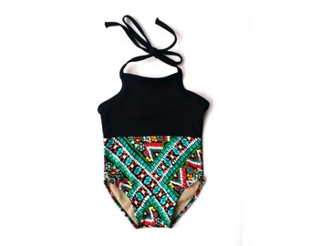 Tribal Print Baby Swimsuit   Black Mosaic Halter Baby Swimwear