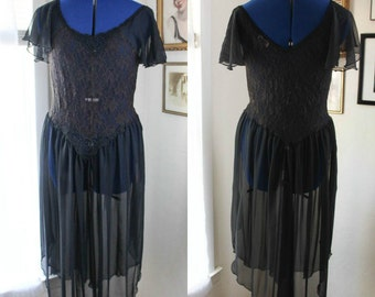 20% OFF Vintage 1970's Black Ballerina// Ballet Sheer & Lace Nightgown // Nightie // slip // Lingerie by Cinema Exoile