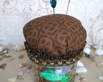 Cute Mason Jar Hijab Pin Cushion - Chocolate Print