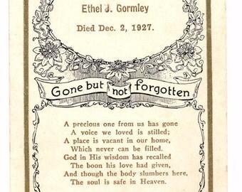 Vintage memorial card of baby Ethel J. Gromley