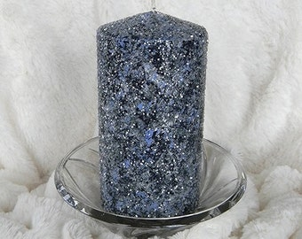 New Home Housewarming Gift, Pillar Candles, Lake House Decor, New Home Gift, Unity Candle, Decorative Candles, Glitter Candles, Blue, Unique