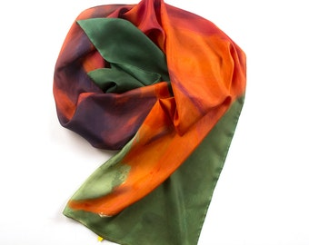 Hand painted Silk Scarf- Rusty Red Leaf/ Green Orange silk scarf/ Long fashion scarf painted in abstract style/ Luxury gift mom Mother's Day