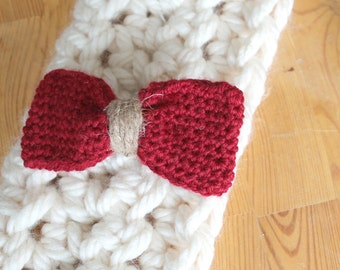 Big Red loop knitted for girl and woman hair clip