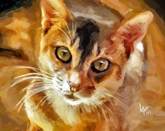 Golden Cat Art Cat Art Print art cat print tabby cat print cat painting tabby cat art tabby cat art print cat wall art print tabby painting